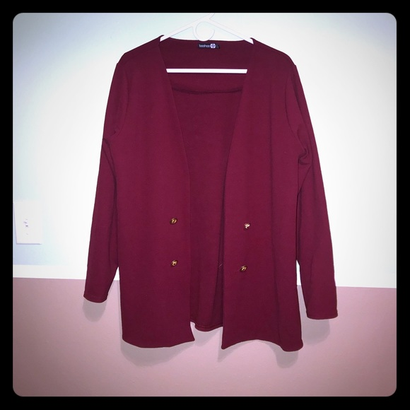 Boohoo Plus Jackets & Blazers - Boohoo plus burgundy gold buttons cardigan blazer